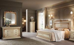 Leonardo dormitorio 1, Clásicos muebles de dormitorios, marfil con acabados de color oro