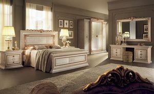 Leonardo dormitorio 2, Muebles clásicos para los dormitorios, con cama de matrimonio, armario 4 puertas, tocador y cajones de noche 2