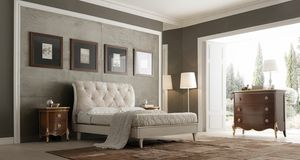 Liò cama lacada blanca, Cama clásica, lacada en blanco.