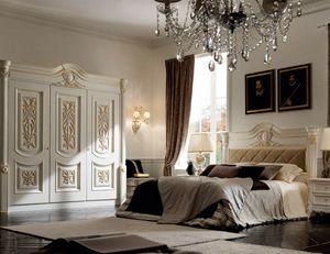 Luigi XVI Art. TES01/VOCAP/L183, Cama de estilo clásico, con tallas artesanales.