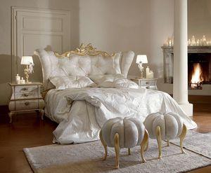 Matilde cama, Cama de lujo y elegante con detalles de oro blanqueado