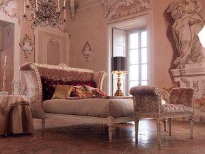 Monnet bed, Cama doble clásico en madera pintada de blanco