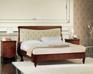 Narciso cama acolchada, Cama de nogal con cabecera tapizada, hechos a mano