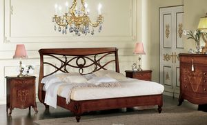 Narciso cama perforada, Cama de nogal, con cabecera perforado, hecho a mano