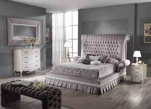 QUEEN cama, Cama doble con cabecera acolchada