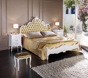 Regency cama, Cama de madera, con cabecero tapizado