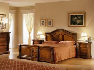 REGINA NOCE / Double bed, Cama doble de madera pintada, dormitorio de estilo