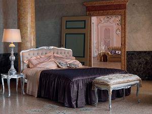 Renoir bed, Cama en estilo clásico, acabado en plata, para los hoteles