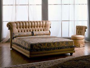 Tiziano bed, Cama de madera, clásico, acolchado, para habitaciones de hoteles
