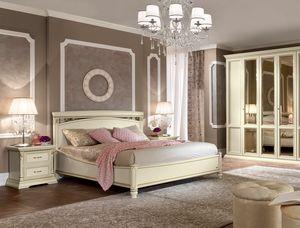 Treviso cama, Cama con tallas y decoraciones artesanales