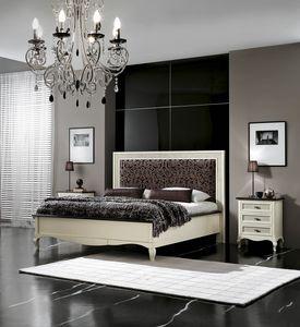 Vienna cama acolchada, Cama lacada con cabecero tapizado