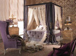 Esimia cama, Cama con dosel, tapizado acolchado.