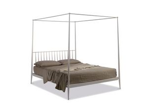 Urbino cama con dosel, Cama con dosel de metal afilado, estilo minimalista
