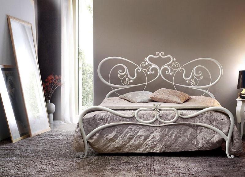 Cama de metal doble, líneas curvas, cama romántica   IDFdesign