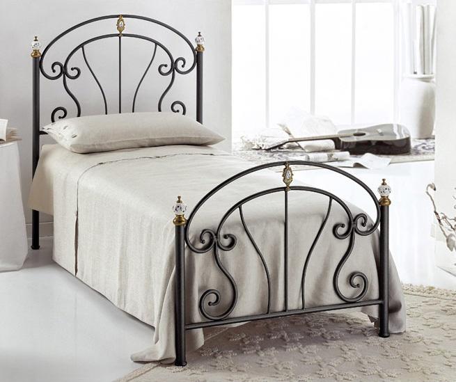 Bolero Single Bed, Cama individual en hierro, para dormitorios modernos