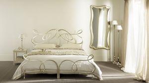cama doble Ghirigori, Cama doble en hierro plano, hecho a mano, para hoteles