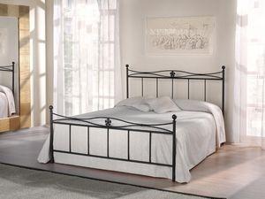 Double bed Albatros, Cama en tubular de hierro con decoraciones florales, diseño retro