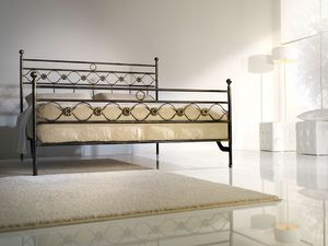 Double bed Incanto, Cama doble de hierro con decoraciones clásicas