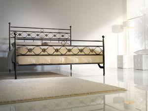 Double bed Incanto, Cama doble de hierro con decoraciones cl�sicas