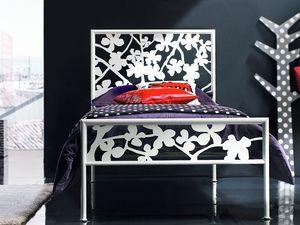 Flower Single Bed, Cama con cabecero de hierro, para la zona de albergue
