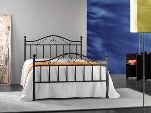 Giusy 120, Cama de metal doble, para el dormitorio clásico