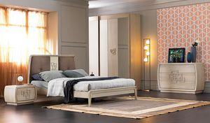 Amarcord Art. AM015, Cama de madera con cabecera tapizada