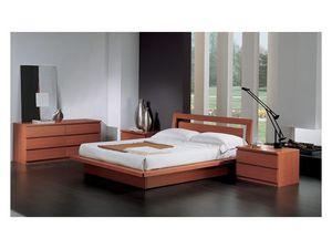 Bedroom 49, Cama con contenedor, de madera de cerezo, para los dormitorios contemporáneos