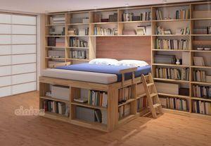 Biblioteca, Cama de ahorro de espacio con estantes
