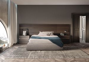 Boiserie comp.02, Cabecero para la cama en madera mate, hoteles