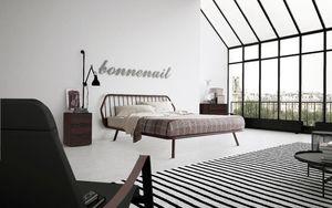 Trama, Cama doble, diseño minimalista, con marco de madera