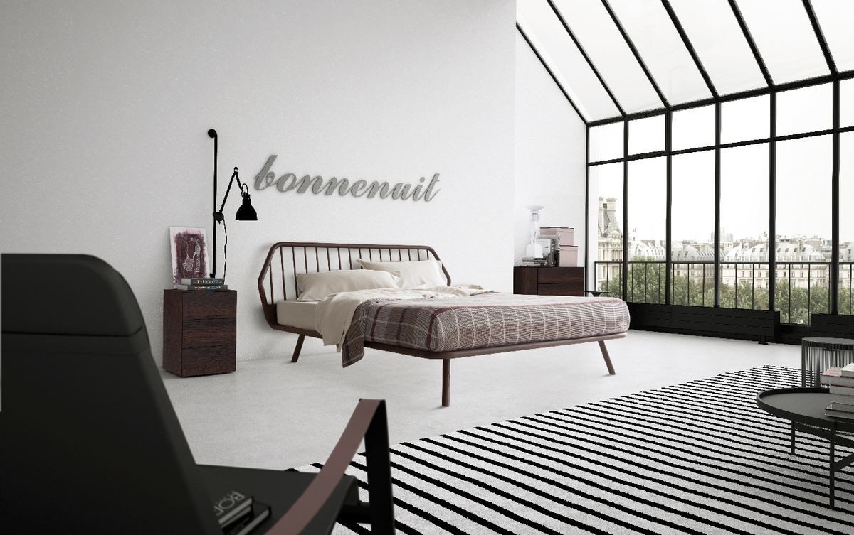 Cama doble, diseño minimalista, con marco de madera | IDFdesign
