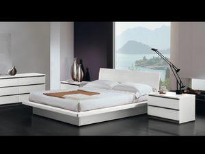 Cama Design 17, Cama doble, marco de madera, estilo moderno