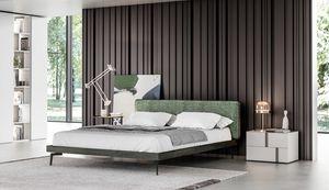 GINEVRA, Cama elegante con cabecera tapizada
