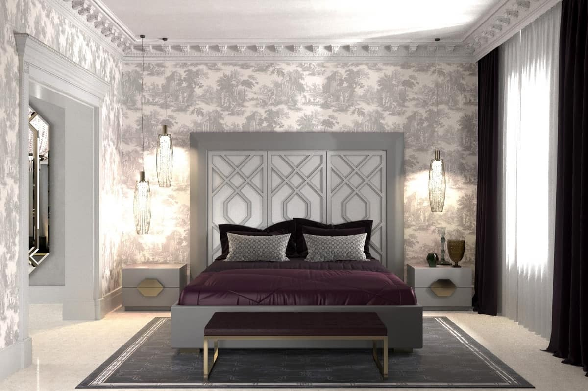 Cama con cabecero con 3 paneles, con motivos geométricos | IDFdesign