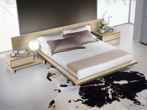 Cama Design 03, Cama con el marco de la cama y cabecero en madera