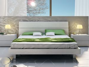 Cama Design 09, Cama doble de madera, en un estilo lineal