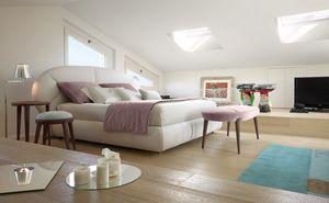 Baloon cama, Cama acolchada, cabecera con formas redondeadas