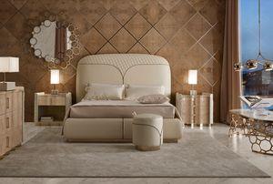 Ester cama, Cama de cuero, con cabecero decorado con cremallera.
