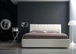 Gilda cama de matrimonio, Cama acolchada lineal con cabecero acolchado, varios colores