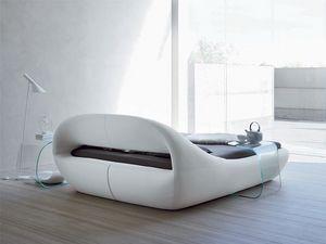 SLEEPY, Elegante cama doble, acolchado, con una forma original
