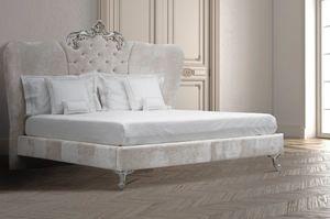 Ambra, Cama con cabecera de cama enriquecida con Swarovski