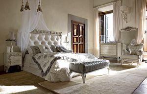 Angelica cama, Cama con cabecera acolchada y un precioso marco tallado
