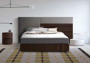 Boiserie comp.04, Cabecero tapizado y madera, para habitaciones modernas