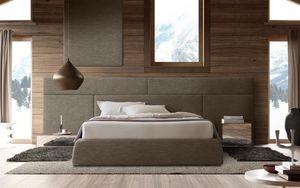 Boiserie comp.01, Cabecero de madera para la cama, modular y elegante