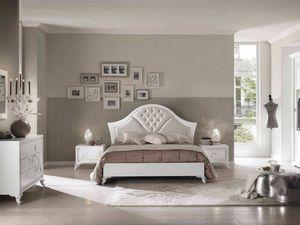 Camelia cama, Elegante cama de madera con acabado blanco