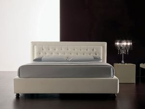 Classic, Cama moderna tapizada con poliuretano, cabecero acolchado