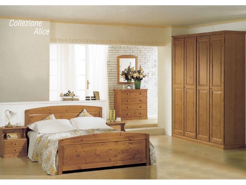 Collection Alice Double Bed, Camas de madera de chalets y hoteles rústicos