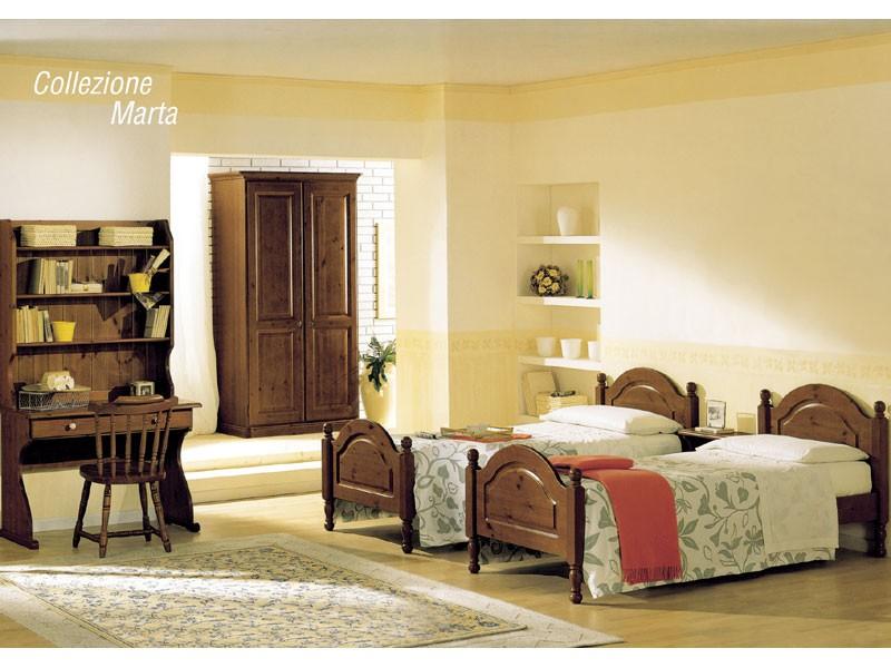 Collection Marta, Cama con cabecero de madera y pie de cama, estilo rústico