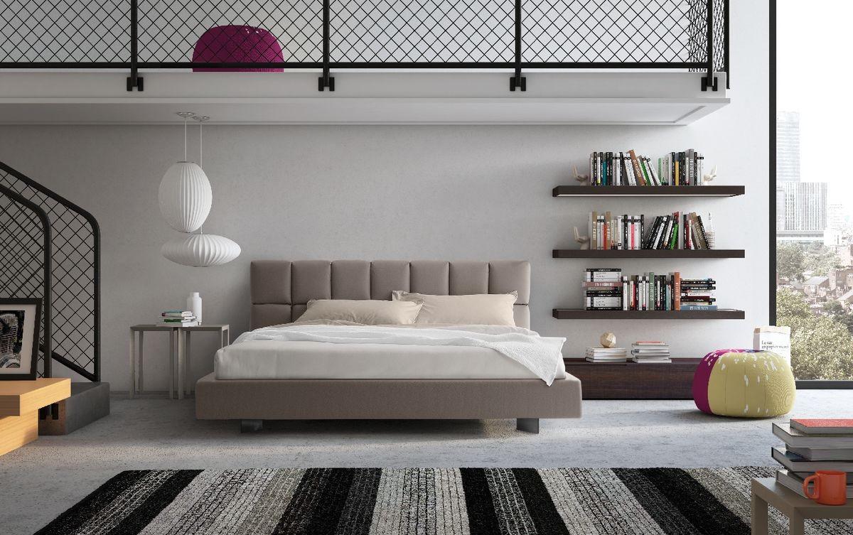 Cama con cabecera tapizada y funcional, para el dormitorio moderno ...