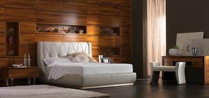 Elettra Art. EL015A/T, Cama tapizada, tapizada en cuero.